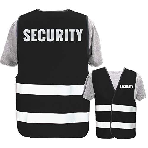 Bedruckte Warnwesten mit ISO-Leuchtstreifen * Standard- oder Reflex-Druck * Thema Sicherheit & Team, Warnweste Begriffe Security:Security (Reflektierend), Farbe + Größe:Schwarz (XL/XXL)