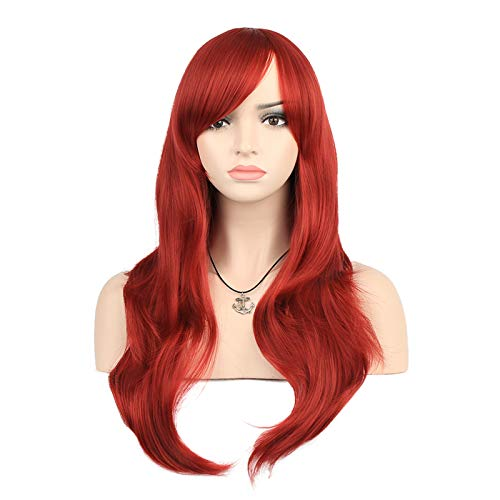 """YOPO 28"""" Wig Long Big Wavy Hair Women Cosplay Party Costume Wig(Wine Red)"""