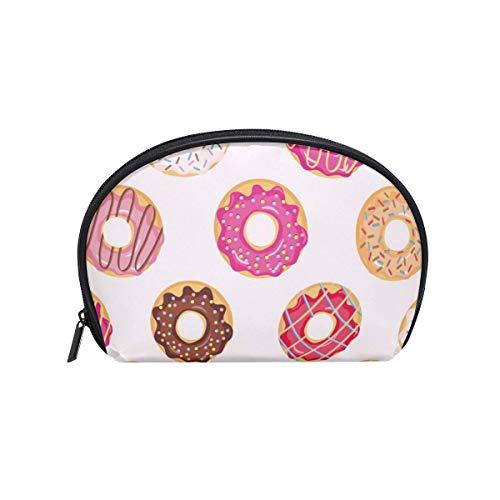 Nette rosa Farben Süß glasierte Donuts Make-up-Tasche Organizer Tragbare kleine Kosmetiktasche für Frauen Mädchen Reisen & Täglicher Gebrauch