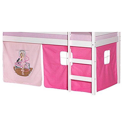IDIMEX Vorhang Gardine Bettvorhang Ballerina zu Hochbett Rutschbett Spielbett in rosa/pink