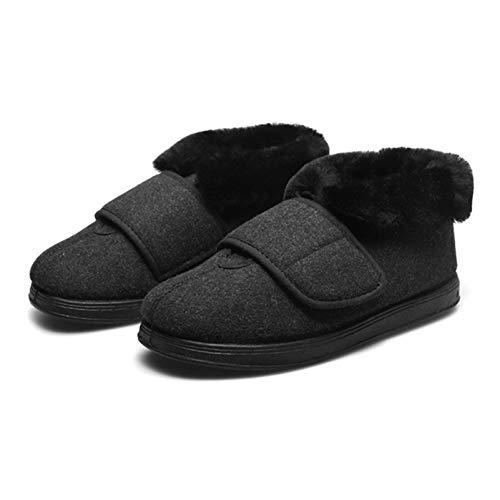 YFWJD Mujer Hombre Invierno Fur Zapatillas de Estar Cerradas Calienta Pantuflas, para Interior o Exterior Caucho Suela,Negro,40