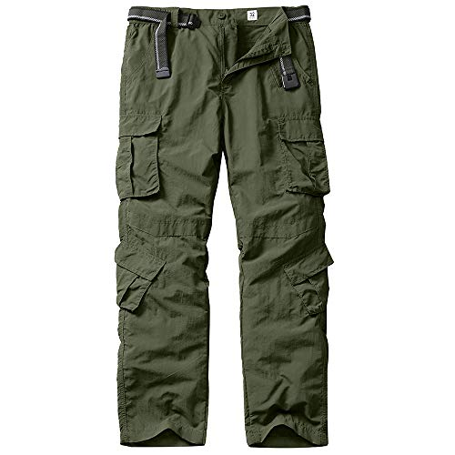 Jessie Kidden Men's Waterproof Hiking Stretch Pants Quick Dry Lightweight Outdoor Travel Safari Cargo Pants (6054 Army Green 29)