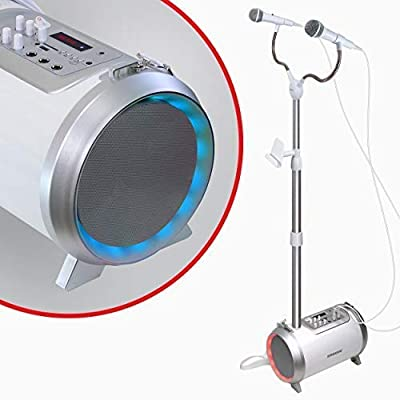 Karaoke Machine for Adults and Kids with 2 Microphones, Streams Music via AUX, USB, SD Card Slot or Bluetooth