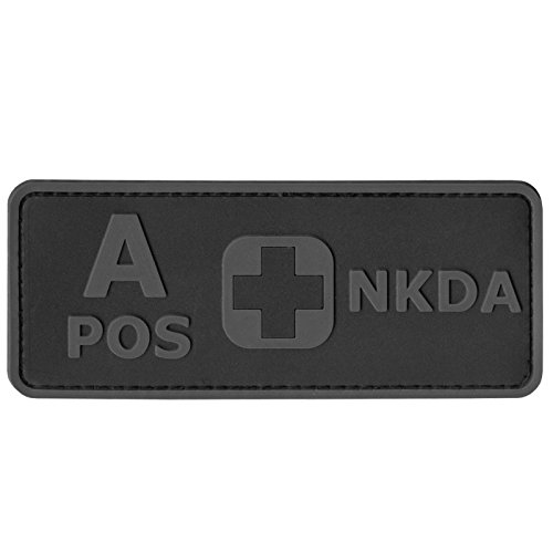 2AFTER1 APOS Blood Type NKDA ACU Subdued Tactical No Drugs Allergies PVC Rubber 3D Fastener Patch