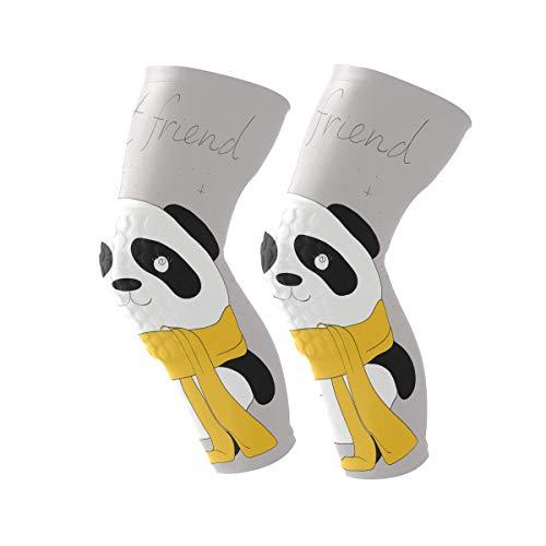 HEY BOX Cartoon Panda Best Friend 1 Pair Anti-Slip Honeycomb Knee Pads Protector Long Compression Leg Sleeve for Men Women Youth Adult Volleyball Baseball Football Wrestling