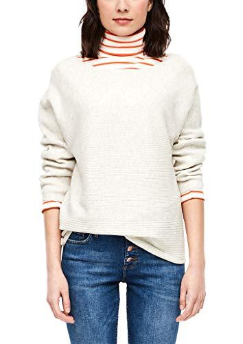 s.Oliver Damen 04.899.61.6017 Langarm Pullover, Off-White Melange, (Herstellergröße: 42)