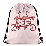 Ameok-Design rosa Flamingos auf Tandem Fahrrad Schultertasche Kordelzug Rucksack Schultasche Sporttasche Rucksack Rucksack Rucksack Rucksack Gym Tasche Leicht