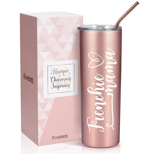 Onebttl French Bulldog Gifts for Women, Best Frenchie Mom Gifts, Unique Dog Mom Gifts for Frenchie Mama, Pink Stainless Steel Insulated Tumbler 20 oz