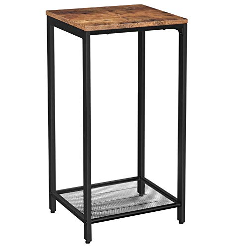 VASAGLE INDESTIC Side Table, End Table, Telephone Table with Mesh Shelf, High and Narrow, Hallway, Living Room, Metal, Easy Assembly, Space Saving, Industrial, Rustic Brown ULET76BX
