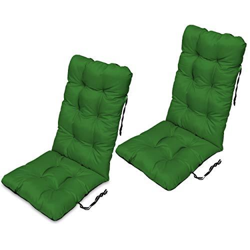 SuperKissen24 Set di 2 Cuscini per Sdraio 123x48 cm da Esterno ed Interno Resistente e Comodo per Sedie Reclinabili, Spiaggine e Poltrone da Giardino - Verde