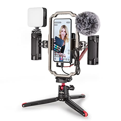 SmallRig Universal Video Rig Kit for iPhone, Smartphone and Cameras, Phone Stabilizer Rig w/ Tripod...