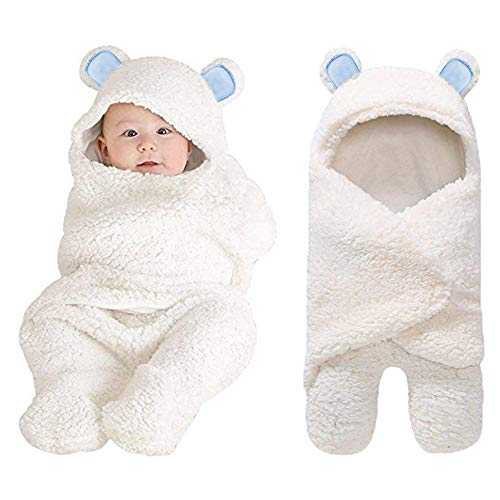 XMWEALTHY Baby Swaddle Blankets Plush Bear Swaddling Wraps Baby Clothes for 0-6 Newborn Months Girls Boys Ideal Baby Registry Blue