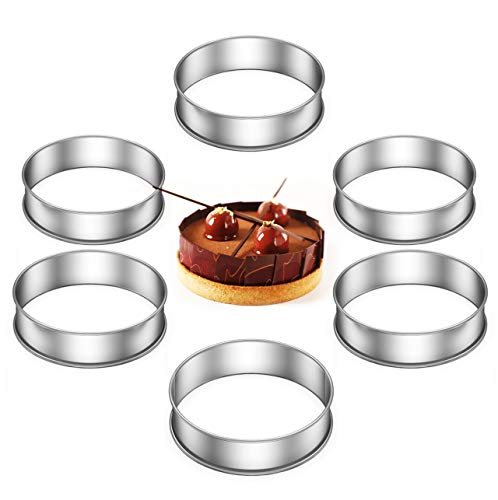 WUMU Crumpet Rings Set of 6 Non Stick,Double Rolled Tart Rings for Poaching Eggs,Making Perfect English Muffin Rings