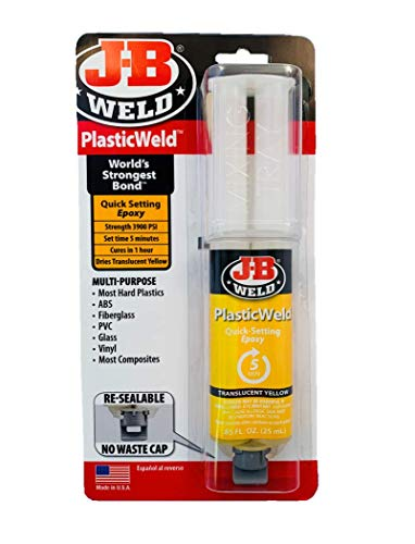 J-B Weld 50132 PlasticWeld Quick-Setting Epoxy Syringe - Translucent Yellow - 25 ml