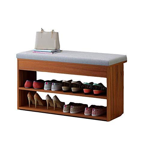 ZAIHW Zapatero Banco de Zapatos con cojín de Asiento Banco de Almacenamiento para Sala de Estar Pasillo Entrada 80 X 30 X 42 cm (WXDXH) 3 Colores (Color: Color Nogal)