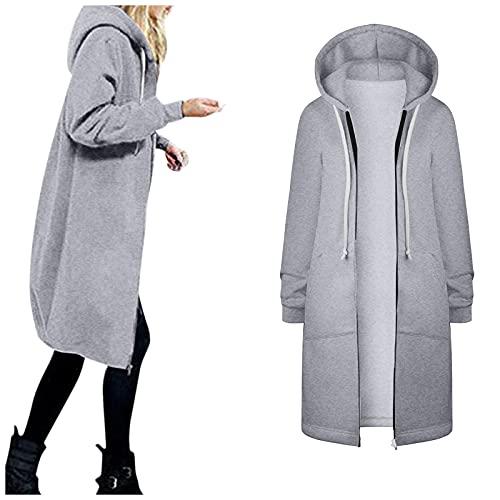 Aniywn Women's Casual Pockets Zip up Hoodies Winter Tunic Sweatshirt Casual Solid Color Long Sweatshirt Hoodie Jacket Gray