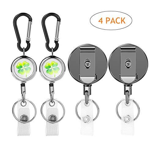 Einziehbarer Schlüsselanhänger, Gifort Schlüsselbund Ausziehbar Einziehbare Karabiner mit Schlüsselring und Bügel für ID Abzeichen Halter, Ausweishülle und Schlüsselkarten, 4 Stück