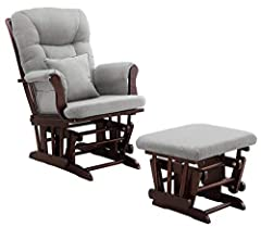 Generous seating room with padded arms and storage packets Enclosed metal bearings for smooth gliding motion Removable chair cushions for easy spot cleaning