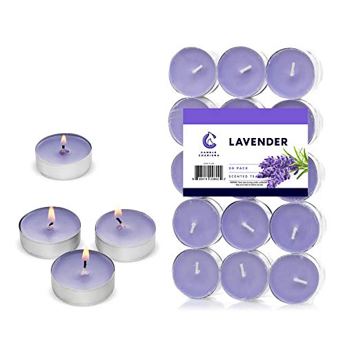 Lavender Candle Scented Tealights - 30 Pack Lilac Color- Great for Yoga, Meditation, Relaxation - Made in USA
