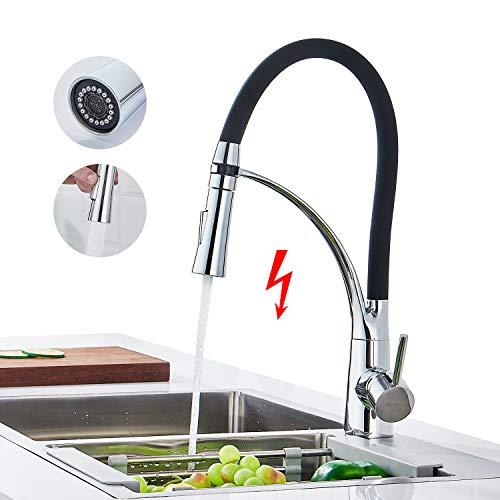 Niederdruck Küchenarmatur mit Brause Ausziehbar, WOOHSE Niederdruckarmatur Wasserhahn 360° Drehbar Schwarz Armatur Küche mit herausziehbarer Dual-Spülbrause Mischbatterie für drucklose Boiler