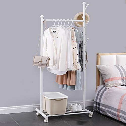 Estante de exhibición de ropa, estante de secado con ruedas de riel industrial con freno, con estante de almacenamiento inferior, perchero lateral, multifuncional/Blanco / 105×43×170cm
