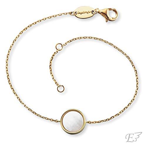 Engelsrufer - Damen Armband Muschelkern aus 925 Sterlingsilber vergoldet, Frauen Armbänder mit echten Perlen, filigranes Damenschmuck Silberarmband