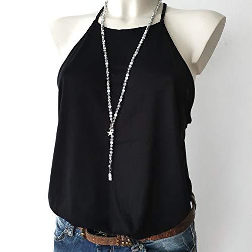 Y-Kette lange Halskette Ypsilonkette silber glänzend schimmernde Glasperlen mit Anhänger Stern Geschenkidee für Damen