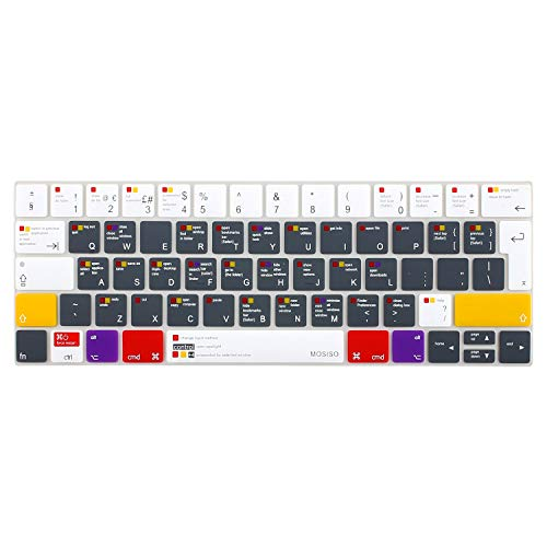 MOSISO Keyboard Cover Compatible with MacBook Pro with Touch Bar 13 and 15 Inch 2019 2018 2017 2016 (Model: A2159, A1989, A1990, A1706, A1707), Silicone Skin Protector (Europe Layout), Mac OSX