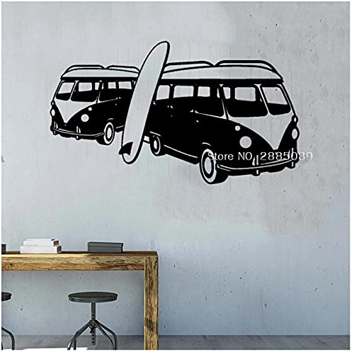 WYLYSD Surfing Bus Wandtattoo Surf Beach Ocean Murals Urlaub Home Interior Decor Wandaufkleber Wallpaper 97Cm X 56Cm
