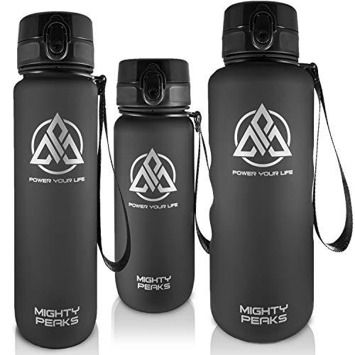 MIGHTY PEAKS Tritan Sport-Trinkflasche 1l BPA frei, Wasserflasche 1liter Black, Schwarz, Trinkflasche Kinder, Plastik-Flasche 1l, Sportflasche für Fahrrad, Fitness, Fußball, Kinder