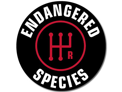American Vinyl Round Stick Shift Endangered Species Sticker (Detroit car Drive Manual Gear)