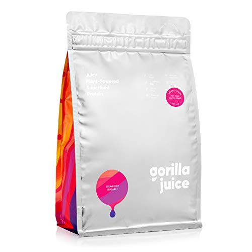 Gorilla Juice Superfood Vegan Protein Powder - Added Superfood Formula - All Natural Plant Based Protein Blend with Pea and Brown Rice Protein - Strawberry Flavour 375g (15 Servings) (Midi Bag 375g)