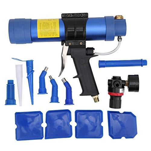 Pistola de pegamento de vidrio, pistola de calafateo neumática OW-Q3 310ML que incluye rascador de pegamento, válvula de presión de aire, accesorios, pistola de silicona de velocidad ajustable