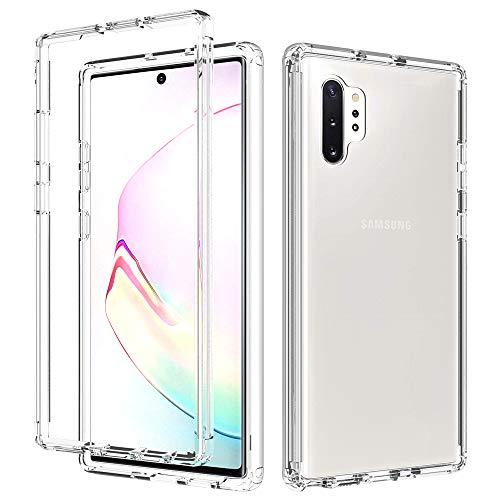Almiao Kompatibel mit Samsung Galaxy Note 10+ Plus Hülle, Transparenter Körper, Harter PC + Weiches Silikon TPU 2-in-1 Stoßfeste Handy-Schutzhülle für Samsung Galaxy Note 10+ Plus (Transparent)