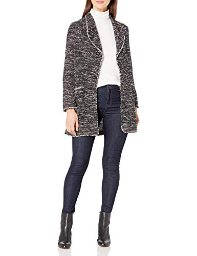 Max Studio Women's Long Sleeve Textured Knit Cardigan, Black/Grey, Small