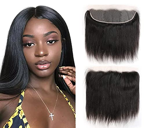 Frontal Lace Closure 13x4 Ear to Ear Full Lace Frontal Closure Brazilian Straight Virgin Hair Closure Free Part Lace Frontal Closure Bleached Knots Natural Black 14 Inch