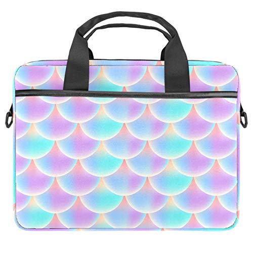 KEAKIA Computer Bag Laptop Bag 13.4-14.5 Inch Computer Case Laptop Shoulder Bag Laptop Sleeve for Women and Men Gradient Pink Color Holographic Mermaid Tail Pattern