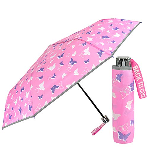 Schmetterlinge Kinder Regenschirm Pink für Mädchen - Rosa Kinderschirm Reflektierend mit Lila Violett Motiv - Taschenschirm Windsicher 7+ Jahre - 91 cm Durchm - Cool Kids Perletti (Schmetterling)
