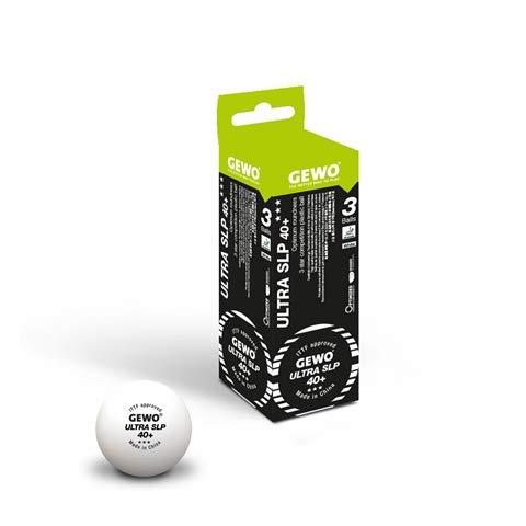GEWO Ball Ultra SLP 3er ohne Naht/Maximale Rundheit Tischtennisball, Weiß, 40