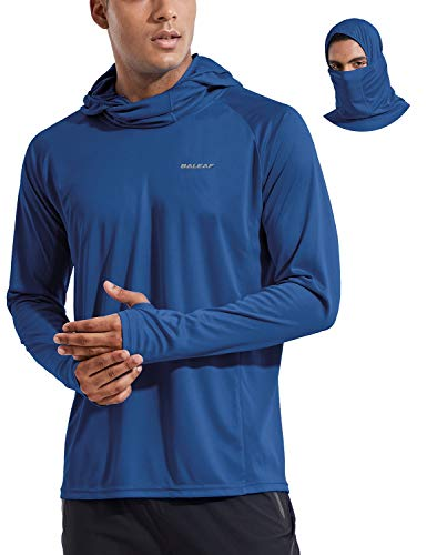 BALEAF Men's Long Sleeve Hoodie Shirts UPF 50+ Sun Protection Lightweight Fishing Running Thumbholes Shirt SPF Bluish Violet Size XL