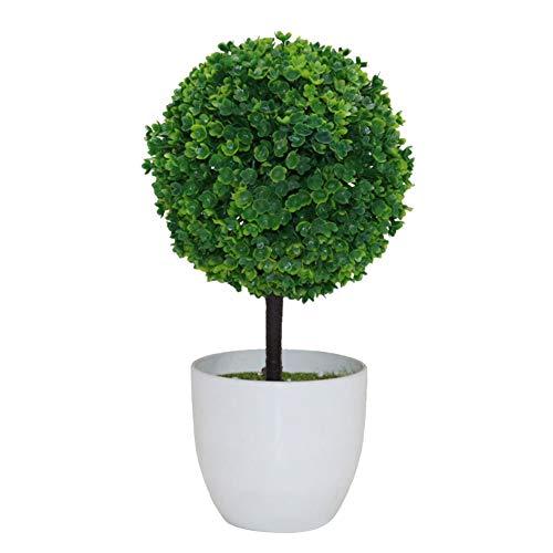 Fansi Unechte Grüne Topfpflanze Künstliche Deko Blume Kunststoff TopfPflanzen Kreativer Miniball vergossen Draussen Balkon Topf Hochzeit Garten Dekoration