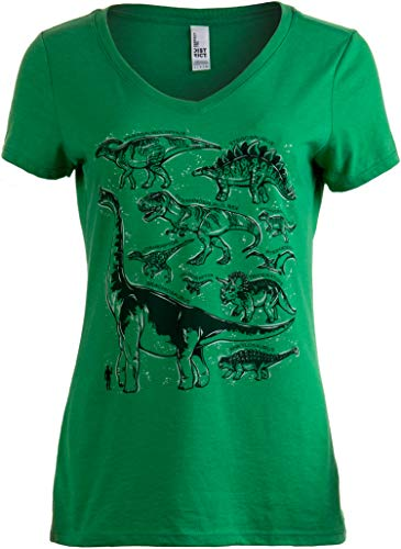 Dinosaur Species | Dino Mom Birthday Party Costume Top V-Neck T-Shirt for Women-(Green,2XL)