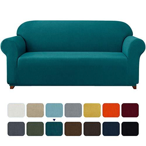 subrtex kariert Sofabezug Sofahusse Sesselbezug Stretchhusse Sofaüberwurf Couchhusse Spannbezug (2 Sitzer, Blau)