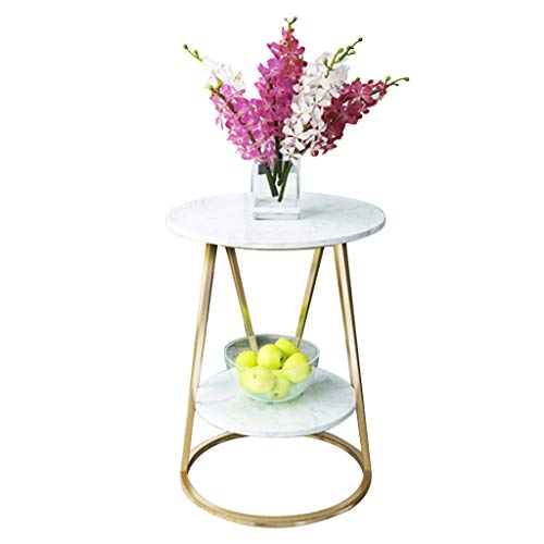 2 Tier Marble Coffee Table Metal Side Table Round End Table for Living Room Bedroom Kitchen Dining Room Terrace (Color : White, Table Legs : Gold)