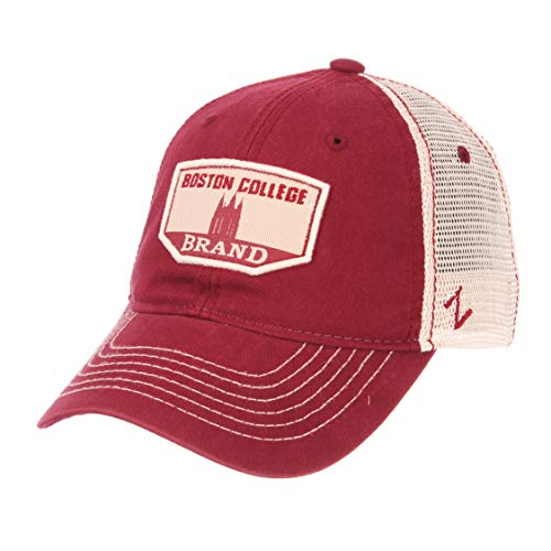 NCAA Zephyr Boston College Eagles mens Trademark Relaxed Hat, Adjustable, Washed Team/White