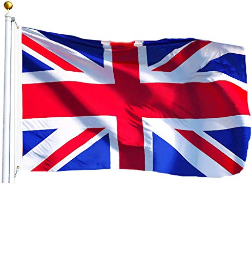 G128 Bandera de Reino Unido Reino Unido Bandera británica de Union Jack de la Bandera de Gran bretaña British National Flag 3x5ft Impreso Calidad poliéster latón Ojales Doble Costura