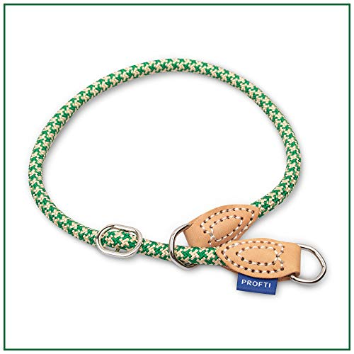 PROFTI Halsband aus Nylon für Hunde, mit Zugstopp, große/kleine Hunde, Halsumfang: 40-54cm (Grün/Beige)