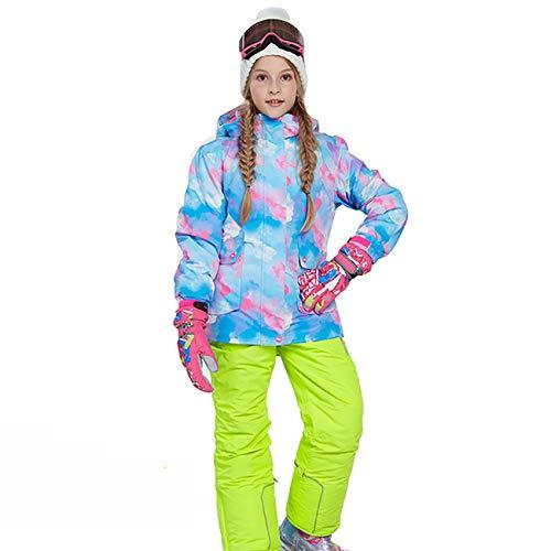 HJG Kid's Waterdichte Ski Jassen Broek Set Winddicht Meisjes Snowboard Jakets Kleurrijke Bedrukte Sneeuwpak, C, 146/152