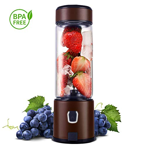 Personal Glass Smoothie Blender, Kacsoo S610 USB Rechargeable Portable Blender Juicer Cup, Single...