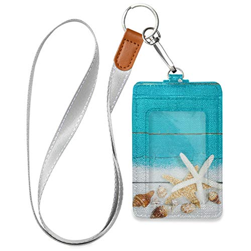 Starfish Shells Blue ID Badge Credit Card Holder Case PU Leather with 1 ID Window 2 Card Slots and Detachable Neck Lanyard for ID Driver Licence Women Men Teen Office (2.7' x 4.3')